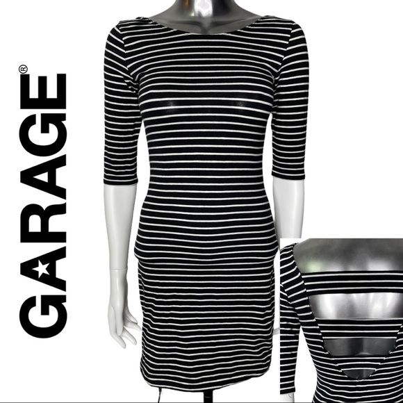 💋2/$30💋Garage Black white Stripe Bodycon Dress
